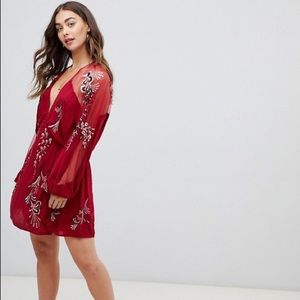 Free People Embroidered Illusion Lace Minidress